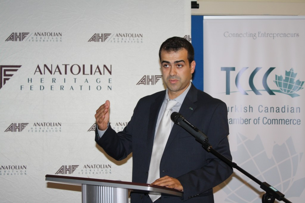 Burak Koban, President of TCCC Edmonton during his welcoming speech at first networking event.